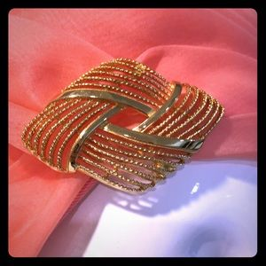 Vintage Monet gold textured brooch